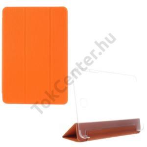 Samsung Galaxy Tab A 8.0 (SM-T350) Műanyag telefonvédő (FLIP, bőrhátlap, oldalra nyíló, TRIFOLD asztali tartó funkció, kéregminta) NARANCS