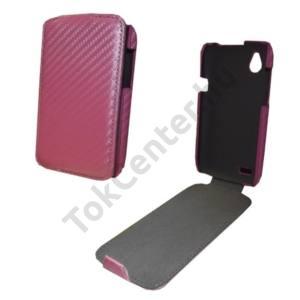 HTC Desire V (T328W) Tok álló, bőr (ultra slim design, karbon minta) Flip, RÓZSASZÍN