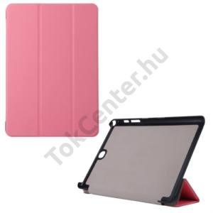 Samsung Galaxy Tab A 9.7 (SM-T550) WIFI Műanyag telefonvédő (FLIP, bőrhátlap, oldalra nyíló, TRIFOLD asztali tartó funkció) RÓZSASZÍN
