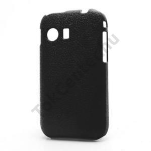 Samsung Galaxy Y (GT-S5360) Műanyag telefonvédő (bőrhatás) FEKETE