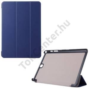 Samsung Galaxy Tab A 9.7 (SM-T550) WIFI Műanyag telefonvédő (FLIP, bőrhátlap, oldalra nyíló, TRIFOLD asztali tartó funkció) SÖTÉTKÉK