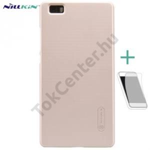 Huawei P8 lite NILLKIN SUPER FROSTED műanyag telefonvédő (gumírozott, érdes felület, képernyővédő fólia, tisztítókendő) ARANY