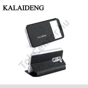 LG G2 mini (D620) KALAIDENG ICELAND II. tok álló, bőr (FLIP, oldalra nyíló, asztali tartó funkció, QuickWindow) FEKETE