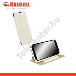 Nokia Lumia 1320 KRUSELL FlipCover MALMÖ, műanyag telefonvédő (oldalra nyíló bőr flip, asztali tartó funkció, bankkáryta tartó) FEHÉR
