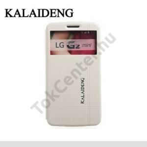 LG G2 mini (D620) KALAIDENG ICELAND II. tok álló, bőr (FLIP, oldalra nyíló, asztali tartó funkció, QuickWindow) FEHÉR