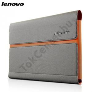 Lenovo Yoga Tablet 2 10.1`` Tok álló, bőr (FLIP, mágneses, oldalra nyíló, képernyővédő fólia) SZÜRKE/NARANCS