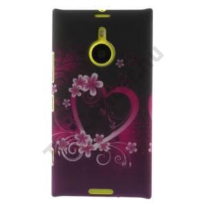 Nokia Lumia 1520 Műanyag telefonvédő (virág, szív mintás) LILA