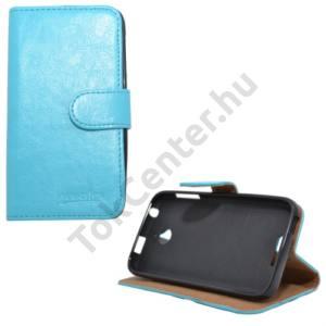 HTC Desire 510 Tok álló, bőr (FLIP, mágneses, oldalra nyíló, bankkártya  tartó, asztali tartó funkció) VILÁGOSKÉK