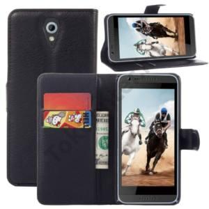 HTC Desire 620G Tok álló, bőr (FLIP, mágneses, oldalra nyíló, bankkártya tartó, asztali tartó funkció) FEKETE