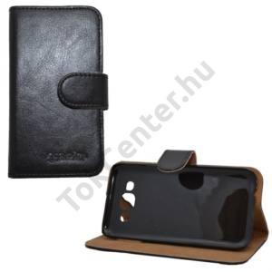 Samsung Galaxy E5 (SM-E500) Tok álló, bőr (FLIP, mágneses, oldalra nyíló, bankkártya  tartó, asztali tartó funkció) FEKETE