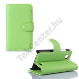 Lenovo A369i Tok álló, bőr (FLIP, mágneses, oldalra nyíló, bankkártya tartó, asztali tartó funkció) ZÖLD