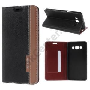 Samsung Galaxy A7 (SM-A700F) Tok álló, bőr (FLIP, mágneses, oldalra nyíló, bankkártya tartó, asztali tartó funkció, textil hatás) FEKETE/BARNA