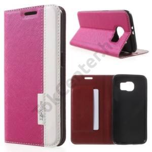 Samsung Galaxy S6 (SM-G920) Tok álló, bőr (FLIP, mágneses, oldalra nyíló, bankkártya tartó, asztali tartó funkció, textil hatás) RÓZSASZÍN