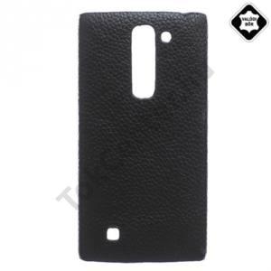 LG Magna (C90) Műanyag telefonvédő (valódi bőrbevonat) FEKETE