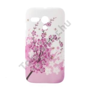 Motorola Moto G (XT1032) Műanyag telefonvédő (virágmintás) FEHÉR