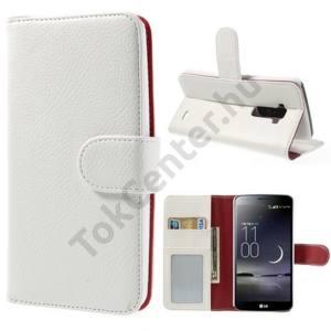 LG G Flex (D955) Tok álló, bőr (FLIP, oldalra nyíló, bankkártya tartó, fényképtartó, asztali tartó funkció) FEHÉR