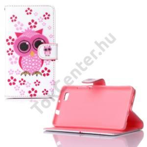 Huawei P8 lite Tok álló, bőr (FLIP, oldalra nyíló, asztali tartó funkció, rózsaszín virág, bagolyminta) FEHÉR