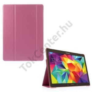 Samsung Galaxy Tab S 10.5 LTE (SM-T805) Tok álló, bőr (FLIP,  oldalra nyíló, TRIFOLD asztali tartó funkció) RÓZSASZÍN