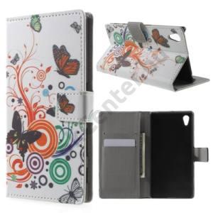Sony Xperia Z5 Tok álló, bőr (FLIP, oldalra nyíló, asztali tartó funkció, pillangó, körminta) FEHÉR