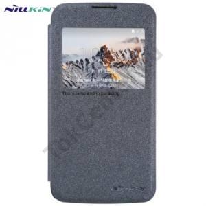 LG K4 (K120e) NILLKIN SPARKLE műanyag telefonvédő (mikroszálas bőr flip, oldalra nyíló, hívószámkijelzés, View Window) FEKETE