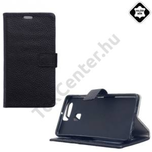 Huawei P9 Tok álló, valódi bőr (FLIP, oldalra nyíló, asztali tartó funkció) FEKETE
