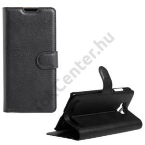 Asus Zenfone Max (ZC550KL) Tok álló, bőr (FLIP, oldalra nyíló, asztali tartó funkció) FEKETE