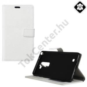 LG K10 (K420n) Tok álló, valódi bőr (FLIP, oldalra nyíló, asztali tartó funkció) FEHÉR