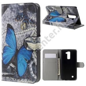 LG K10 (K420n) Tok álló, bőr (FLIP, oldalra nyíló, asztali tartó funkció, kék pillangóminta) SZÜRKE