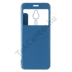 Nokia 230 Műanyag telefonvédő (bőr flip, oldalra nyíló, View Window, szálcsiszolt mintázat) KÉK