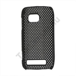 Nokia Lumia 710 Műanyag telefonvédő lyukacsos FEKETE