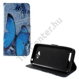 Asus Zenfone Max (ZC550KL) Tok álló, bőr (FLIP, oldalra nyíló, asztali tartó funkció, kék pillangóminta) SZÜRKE
