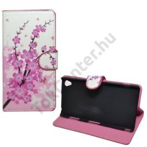 Sony Xperia Z3 (D6653) Tok álló, bőr (FLIP, mágneses, oldalra nyíló, bankkártya tartó, asztali tartó funkció, virágminta) FEHÉR