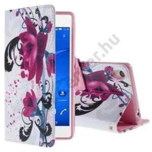 Sony Xperia Z3 (D6653) Tok álló, bőr (FLIP, mágneses, oldalra nyíló, bankkártya tartó, asztali tartó funkció, lótuszvirág minta) FEHÉR