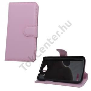 Alcatel Idol Mini (OT-6012D) Tok álló, bőr (FLIP, mágneses, oldalra nyíló, bankkártya tartó, asztali tartó funkció) RÓZSASZÍN