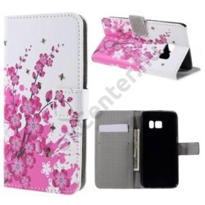 Samsung Galaxy S7 (SM-G930) Tok álló, bőr (FLIP, oldalra nyíló,  asztali tartó funkció, virágminta) FEHÉR
