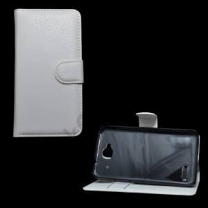Alcatel Idol Mini (OT-6012D) Tok álló, bőr (FLIP, mágneses, oldalra nyíló, bankkártya tartó, asztali tartó funkció) FEHÉR
