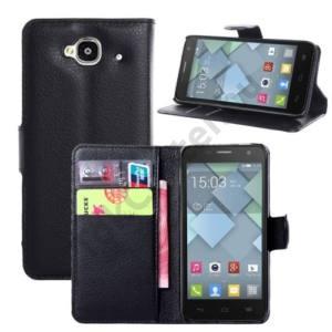 Alcatel Idol Mini (OT-6012D) Tok álló, bőr (FLIP, mágneses, oldalra nyíló, bankkártya tartó, asztali tartó funkció) FEKETE
