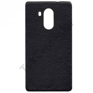Huawei Mate 8 Műanyag telefonvédő (valódi bőrbevonat) FEKETE