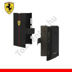 Nokia Lumia 520 Ferrari Formula One Carbon műanyag telefonvédő (karbon minta, bőrflip) FEKETE