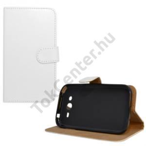 Tok álló, bőr (FLIP, mágneses, oldalra nyíló, bankkártya  tartó, asztali tartó funkció) FEHÉR