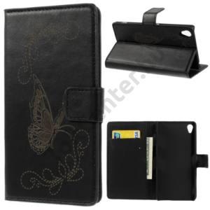 Sony Xperia Z3 (D6653) Tok álló, bőr (FLIP, oldalra nyíló, bankkártya tartó, asztali tartó funkció, gravírozott, pillangó minta) FEKETE