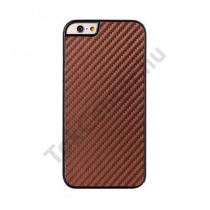 Apple iPhone 6 4.7`` Műanyag telefonvédő (karbon minta) BARNA