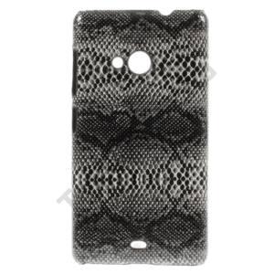 Microsoft Lumia 535 Műanyag telefonvédő (kígyóbőr minta) FEKETE