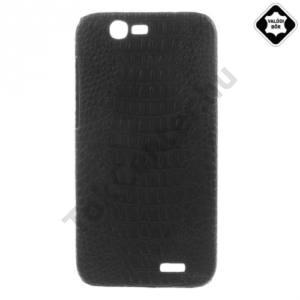Huawei Ascend G7 Műanyag telefonvédő (valódi bőrbevonat, krokodilminta) FEKETE