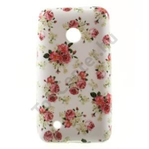 Nokia Lumia 530 Telefonvédő gumi / szilikon (rózsaminta) FEHÉR