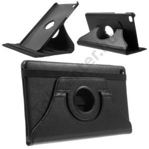 Huawei Mediapad M2 8 Tok álló, bőr (FLIP, asztali tartó funkció, 360°-ban forgatható) FEKETE