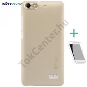 Huawei Honor 4C NILLKIN SUPER FROSTED műanyag telefonvédő (gumírozott, érdes felület, képernyővédő fólia, tisztítókendő) ARANY