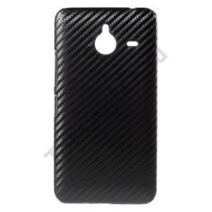 Microsoft Lumia 640 XL Műanyag telefonvédő (karbon minta) FEKETE