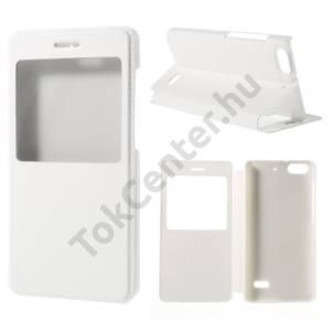 Huawei Honor 4C Tok álló, bőr (FLIP, oldalra nyíló, asztali tartó funkció, View Window) FEHÉR