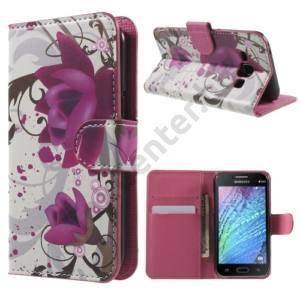 Samsung Galaxy J1 (SM-J100) Tok álló, bőr (FLIP, oldalra nyíló, asztali tartó funkció, lótuszvirág minta) FEHÉR